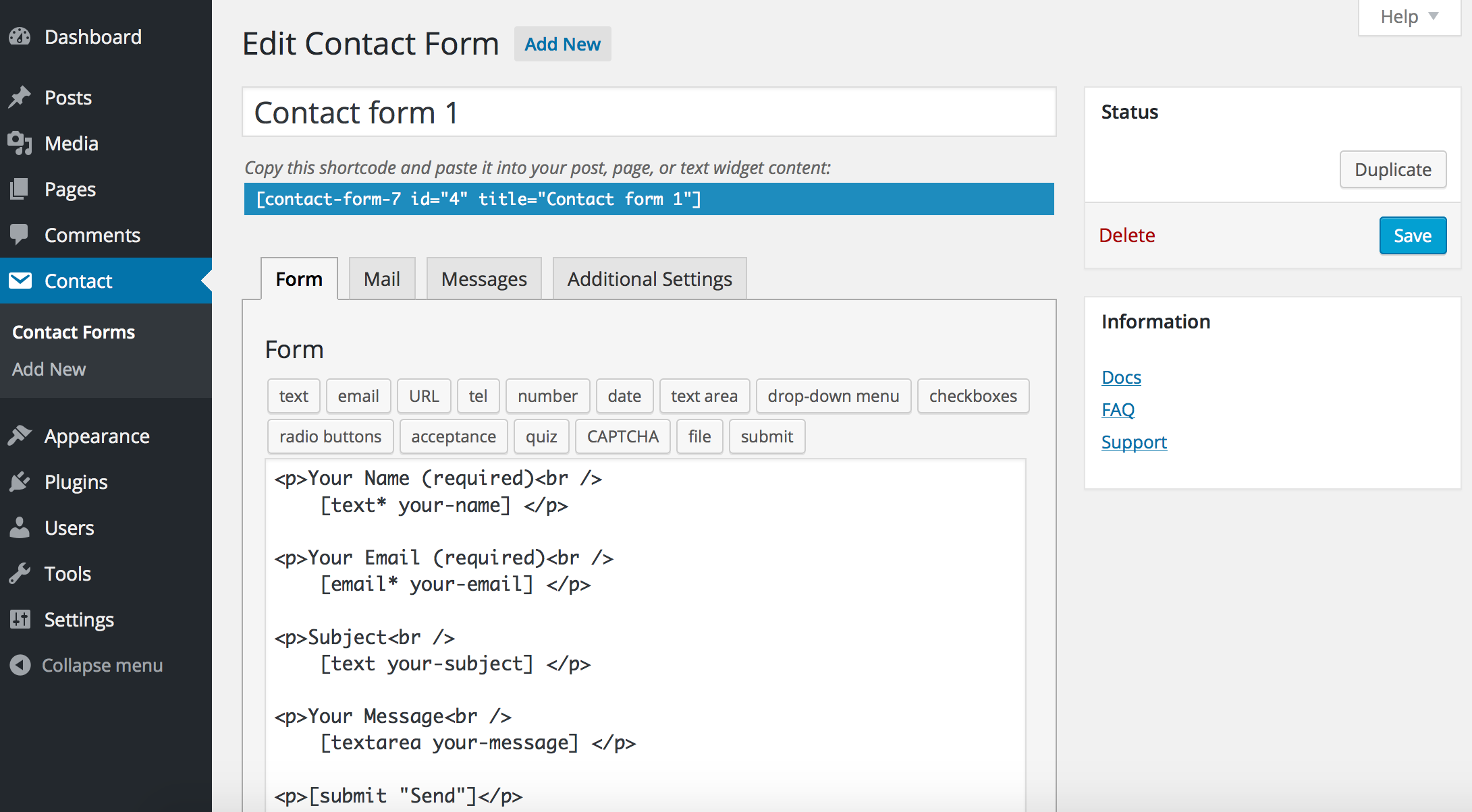 Create highly customizable contact forms with Contact Form 7