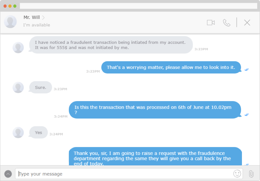 Customers can directly connect with agents and consultants with text chat