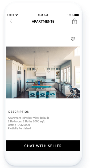 "Buyers can connect with Realtors using the ""Chat with Seller"" button."