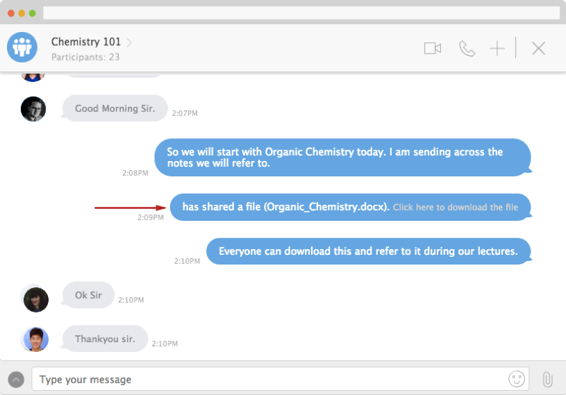 Teachers can share course material, reports, performance analysis and more within the chat platform