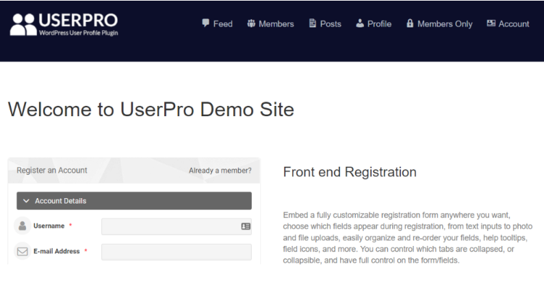 UserPro supports multiple member list displays, content restriction and viral marketing.