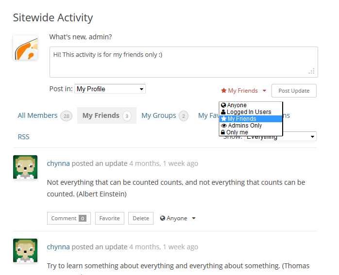 BuddyPress Activity Privacy allows you to protect the privacy of all your social networking site users.