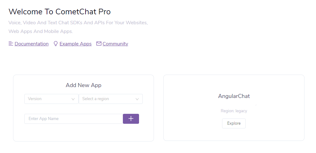CometChat dashboard