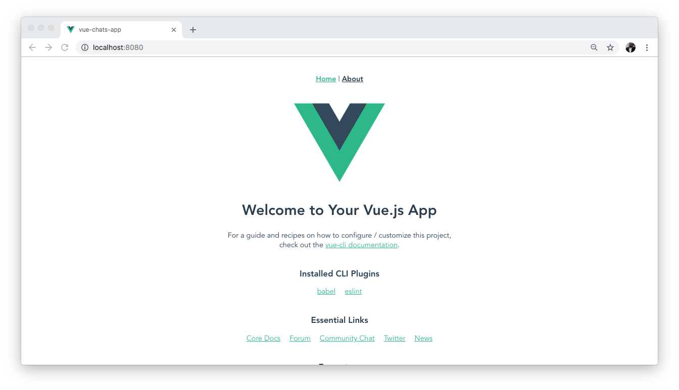 Welcome page of a new Vuejs app