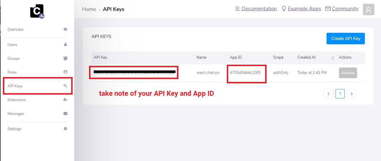 CometChat API Key and App ID