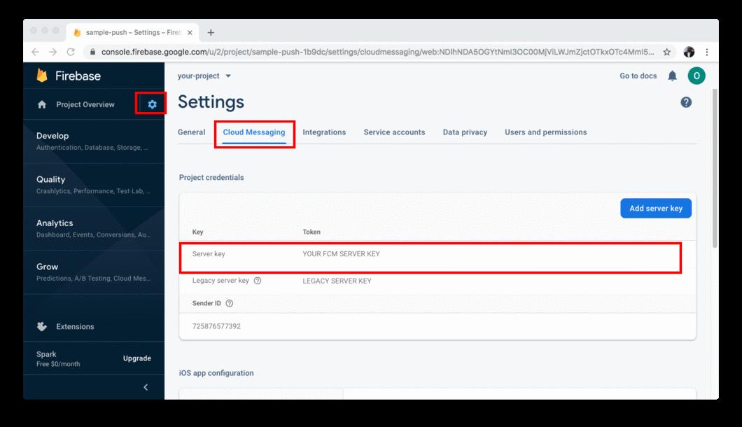 Firebase settings page
